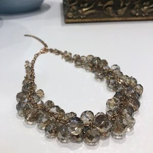 Grey/champagne tone beaded necklace
